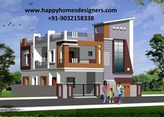 Interior Designers, Architects & Decorator in Hyderabad House Front Wall Design, Single Floor House Design, Duplex House Design, Home Room Design, Small House Design, Building Elevation, House Elevation, Building Front, Building Design