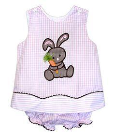Look at this #zulilyfind! Pink & Chocolate Bunny Button Top & Bloomers - Infant #zulilyfinds