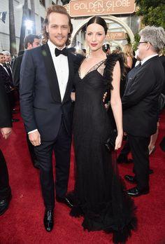 Sam Heughan and Caitriona Balfe, stars of Outlander, at the 2016 Golden Globe Awards.