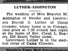Luther-Addington wedding, Camp Crowder, 8 Oct 1942