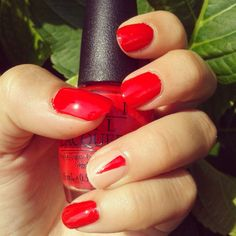 Starting the week with red nails: #OPI Coca Cola Red + shiny/matte geometric design