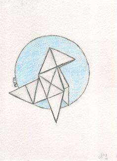 Pajarita de papel. Origami, Velasco, Tattos, My Drawings, Triangle, Photo And Video, Instagram, Ideas, Bow Ties