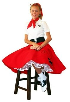Girls 50u0027s Poodle Skirt RED Small Child 46 by hiphop50sshop $16.99  sc 1 st  Pinterest & Make a Poodle Skirt Without a Pattern and With Minimal Sewing ...