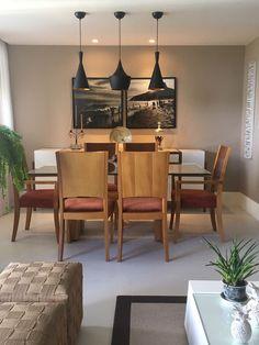Quadro díptico Le Brown, sala de jantar, mesa jantar, luminárias pendentes