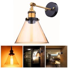 """Yescom Vintage Industrial 7.3"""" Triangle Shape Glass Light Wall Sconce Edison Lamp for Cafe Kitchen Amber -- Awesome products selected by Anna Churchill"""