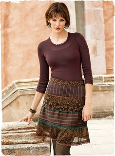 I love the mixing of patterns in this skirt.