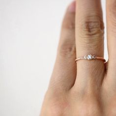 14k solid gold simple 3 champagne diamonds ring. -This ring is available in yellow,white or rose gold. Perfect as a simple engagement ring!