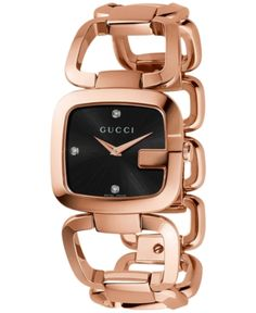 6e3262eb94e Gucci Women s Swiss G-Gucci Diamond Accent Pink Gold-Tone Pvd Stainless  Steel Bracelet