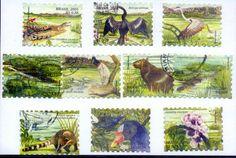 Série de selos da fauna dos biomas brasileiros.