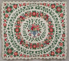 Floral Applique Quilt Emeline Travis Ludington (1820–1887) Date: ca. 1850 Geography: Mid-Atlantic, Carmel, New York, United States Culture: American Medium: Cotton