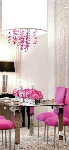 """Use a pop of color on a white palette, like these hot pink dining chairs and chrome table. Love the chandelier's pink """"crystals"""" and the drum shade, which is bright yet soft lighting. {Wes would never let me do hot pink. Purple Home, Decoration Inspiration, Decor Ideas, Design Inspiration, Romantic Homes, Deco Design, My New Room, Home Interior, Dining Chairs"""