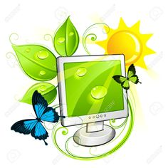 Illustration about An illustration showing an environment friendly computers surrounded by nature elements in bright colors. Illustration of isolated, ecology, artwork - 14674377 Monitor, Designs To Draw, Illustration, Pikachu, Feather Vector, Environment, Abstract, Drawings, Peacock
