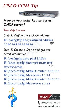 Cisco CCNA Training / Tip -To make Router act as DHCP server .For more information to become Certified for  Cisco CCNA  Please visit: http://www.asmed.com/cisco-ccna/