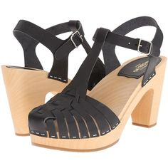 Swedish Hasbeens Lise-Lott (Black) High Heels (£82) ❤ liked on Polyvore featuring shoes, sandals, black, platform shoes, black platform sandals, high heel platform sandals, black high heel shoes and platform sandals