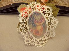 Ecru guipure Lace motif bridal veil doily Vienna by Eleptolis