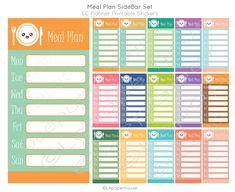 Autocollants de repas Plan Sidebar imprimable par lepaperhouse