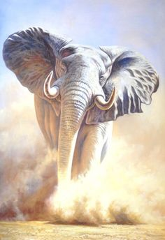 RUSH -Brian Jarvi Artwork Limited Edition Reproductions of African Wildlife Artist Brian Jarvi - Limited Edition Reproductions Brian Jarvi Photo Elephant, Elephant Love, Elephant Art, African Elephant, African Animals, Elephant Gifts, Elephants Photos, Elephant Pictures, Animal Pictures