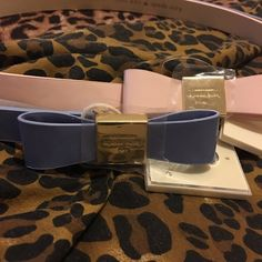 LAST DAY TO BUY...taking them off Poshmark 2 bundle Kate Spade Summer pink and blue/gold leather beltsSize Small kate spade Accessories Belts