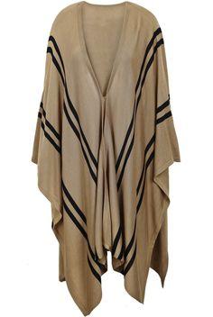 Khaki V-neck Striped Irregular Hem Knitted Cape - Sheinside.com