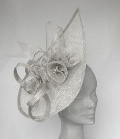 Silver Grey Lulu Teardrop Fascinator Hatinator for Mother of the Bride, Kentucky Derby, Royal Ascot