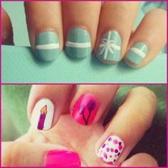 Birthday nails for #manimonday! Which one do you like better? #birthdayweek #ghannelius