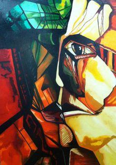 """""""Dos caras"""" - 120x80 - técnica: óleo"""