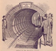 A contemporary illustration shows a portal to Beach's pneumatic subway tunnel.