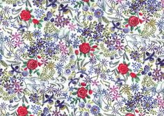 Claudine B Liberty print, embroidery print Liberty print Fat Eighth, Liberty of London tana lawn
