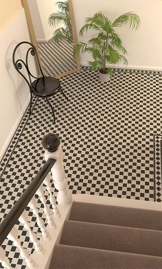 a classic chequerboard look with these black & white Victorian floor tiles
