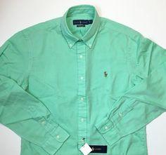 NEW XXL Ralph Lauren Classics Chambray Oxford Lime Green Button Down Shirt…