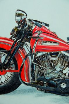 Drawing of a classic harley by Geert-Jan de Bont.
