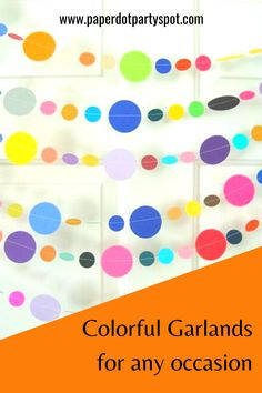 You'll love these colorful garlands! They are made from all different colors, so they match any party theme and any decor. Use a bunch to drape across the ceiling or the walls to add a splash of color and instantly turn your plain room into a party. The garlands are lightweight and easy to hang. They are even great just to decorate a dorm room or office space. Paper Party Decorations, Birthday Party Decorations, Party Themes, Party Ideas, Bunting Ideas, Food Tables, Party Garland, 40th Birthday Parties, Colorful Party
