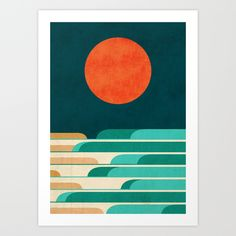 Chasing+wave+under+the+red+moon+Art+Print+by+Budi+Kwan+-+$19.97