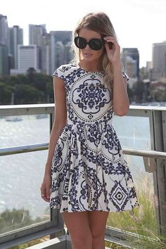 Paisley print sleeveless dress with cap sleeves