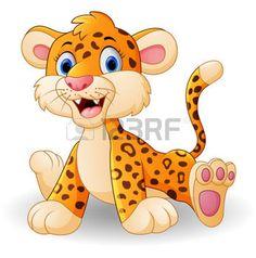 safari bebe: dibujo animado del leopardo del bebé lindo