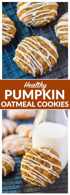 Soft and Chewy Pumpkin Oatmeal Cookies. Healthy recipe made with maple syrup, coconut oil, and whole grains. Easy and filled with warm spices! Pumpkin Oatmeal Cookies, Healthy Oatmeal Cookies, Healthy Pumpkin Cookies, Healthy Baking, Healthy Desserts, Just Desserts, Healthy Recipes, Pumpkin Recipes, Cookie Recipes