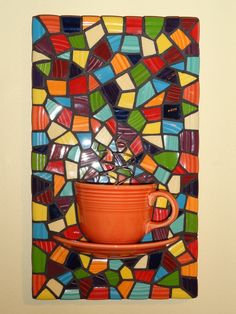 mosaic coffee wall art made w/ retro dishes