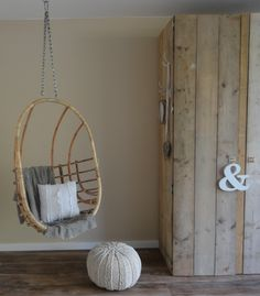 Simple Interior, Home Interior Design, Home Design, Hanging Hammock Chair, Hanging Chairs, Rattan, Room Of One's Own, Lounge, Baby Boy Rooms