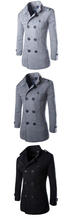 US$41.28 Mens Fashion Double Breasted Mid-Long Woolen Trench Coat