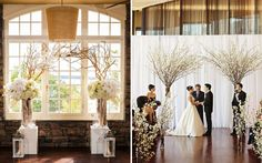 Flowers and willow branches are a simple way to add some elegance to your ceremony backdrop.
