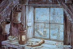 Winter Window by Anton Pieck Anton Pieck, Kobold, Dutch Painters, 3d Prints, Dutch Artists, Winter Art, Book Illustration, Yule, Illustrators