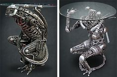 """""""Each piece is hand crafted from used car and bike parts, tools and other recycled metal objects, so each one is unique. The coffee table sta..."""" - http://www.slipperybrick.com/category/furniture/page/3/"""