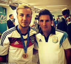 Gracious: Messi stops for a photo with Germany's World Cup-winning goal scorer Mario Gotze..