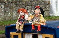 EXTRA LARGE GIANT 30 inch ROSIE AND JIM NARROW BOAT CANAL DOLLS UNIQUE Vintage