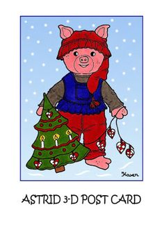 Karens Kravlenisser. Cut-outs and Colouring Pages. : Christmas Bear and Doll 3D Postcards in Colours. Jule bamse og dukke 3D postkort i farver.