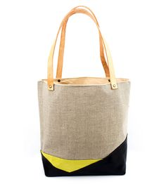 Linen & Leather Desert Tote | Collections Bags | Yellow Wallpaper Handmade | Scoutmob Shoppe | Product Detail