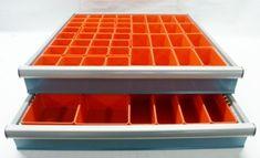 "37 PC Red Plastic Box Assortment 1"" Deep / Four (4) SIZES - Schaller Corporation Tool Drawer Organizer, Drawer Dividers, Drawer Organisers, Organizers, Plastic Tool Box, Plastic Box Storage, Storage Bins, Tool Drawers, Garage Tool Storage"