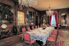 The Dining Room table is set with Marjorie Merriweather Posts services