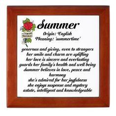 Summer Name Meaning Design Keepsake Box