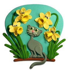 Clay Illustration-AngryDaffodils&Cat
